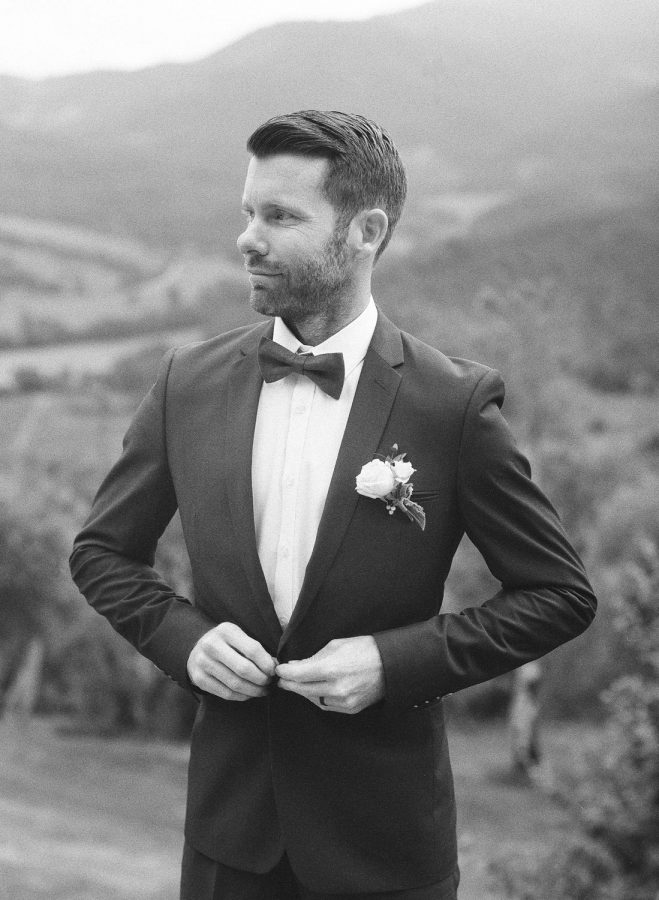 Groom at Umbria Italy Destination Wedding