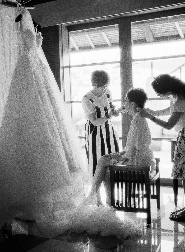 Bride getting ready  Bali destination wedding