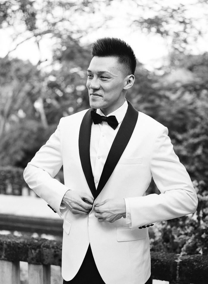 Chinese groom at bali destination wedding