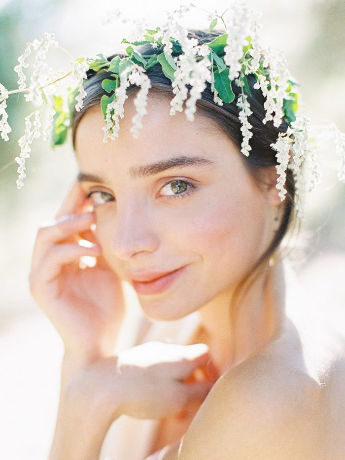 romantic natural flower bridal crown