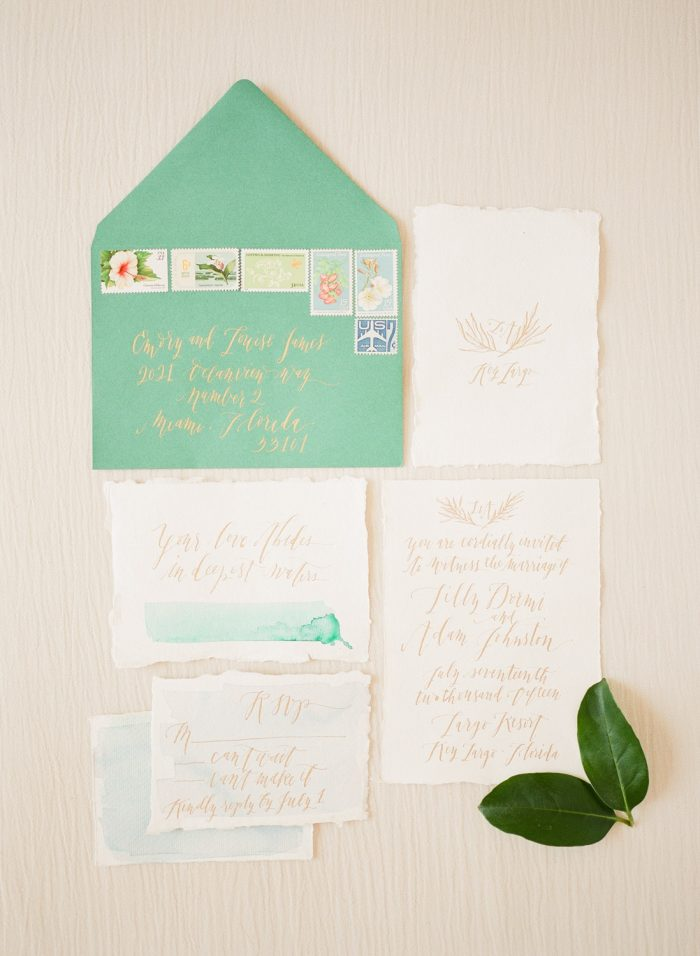 tropical calligraphy wedding invitation suite la happy